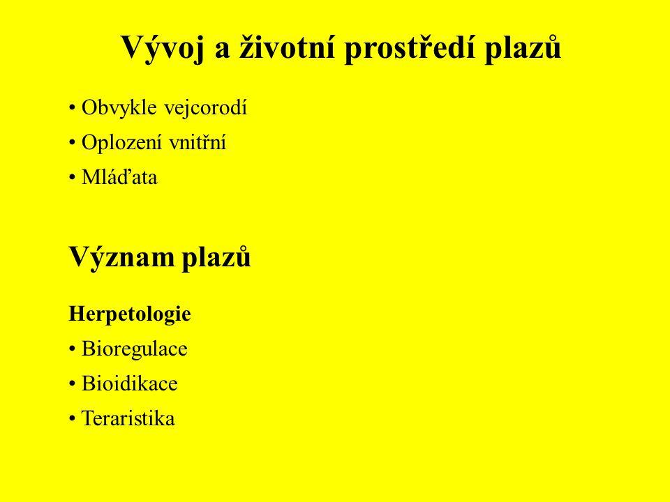 Vývoj a životní prostředí plazů Obvykle vejcorodí Oplození vnitřní Mláďata Význam plazů Herpetologie Bioregulace Bioidikace Teraristika