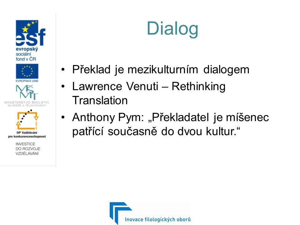 """Dialog Překlad je mezikulturním dialogem Lawrence Venuti – Rethinking Translation Anthony Pym: """"Překladatel je míšenec patřící současně do dvou kultur"""