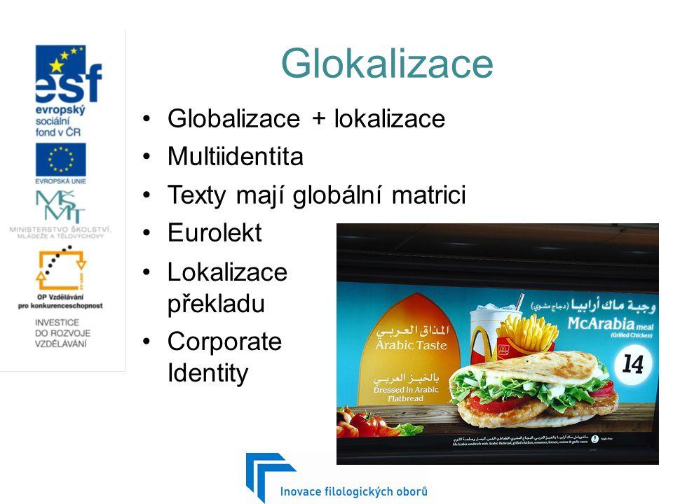Glokalizace Globalizace + lokalizace Multiidentita Texty mají globální matrici Eurolekt Lokalizace překladu Corporate Identity