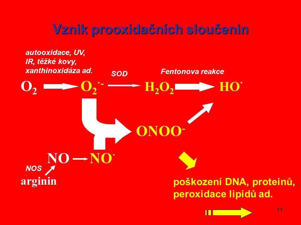 11 Vznik prooxidačních sloučenin O 2 O 2 ·- H 2 O 2 HO · ONOO - NO NO · arginin SOD Fentonova reakce autooxidace, UV, IR, těžké kovy, xanthinoxidáza ad.