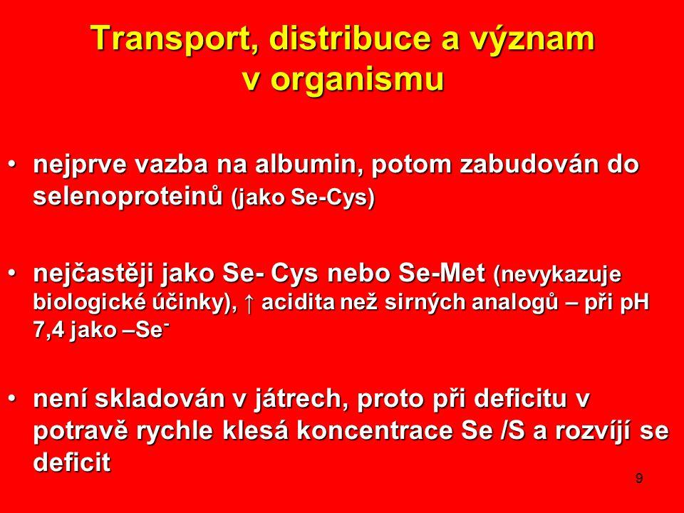 9 Transport, distribuce a význam v organismu nejprve vazba na albumin, potom zabudován do selenoproteinů (jako Se-Cys)nejprve vazba na albumin, potom zabudován do selenoproteinů (jako Se-Cys) nejčastěji jako Se- Cys nebo Se-Met (nevykazuje biologické účinky), ↑ acidita než sirných analogů – při pH 7,4 jako –Se -nejčastěji jako Se- Cys nebo Se-Met (nevykazuje biologické účinky), ↑ acidita než sirných analogů – při pH 7,4 jako –Se - není skladován v játrech, proto při deficitu v potravě rychle klesá koncentrace Se /S a rozvíjí se deficitnení skladován v játrech, proto při deficitu v potravě rychle klesá koncentrace Se /S a rozvíjí se deficit