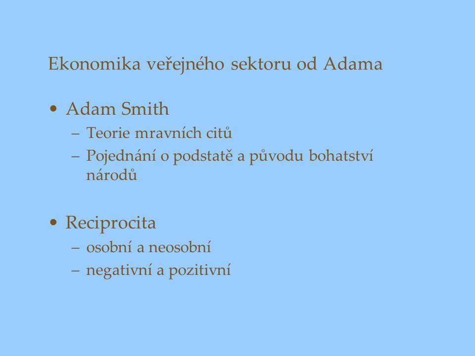 Ekonomika veřejného sektoru od Adama Adam Smith –Teorie mravních citů –Pojednání o podstatě a původu bohatství národů Reciprocita –osobní a neosobní –negativní a pozitivní