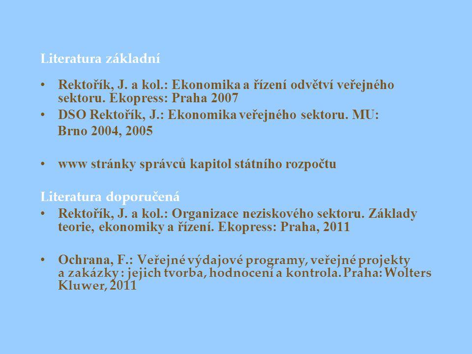 Literatura základní Rektořík, J. a kol.: Ekonomika a řízení odvětví veřejného sektoru.
