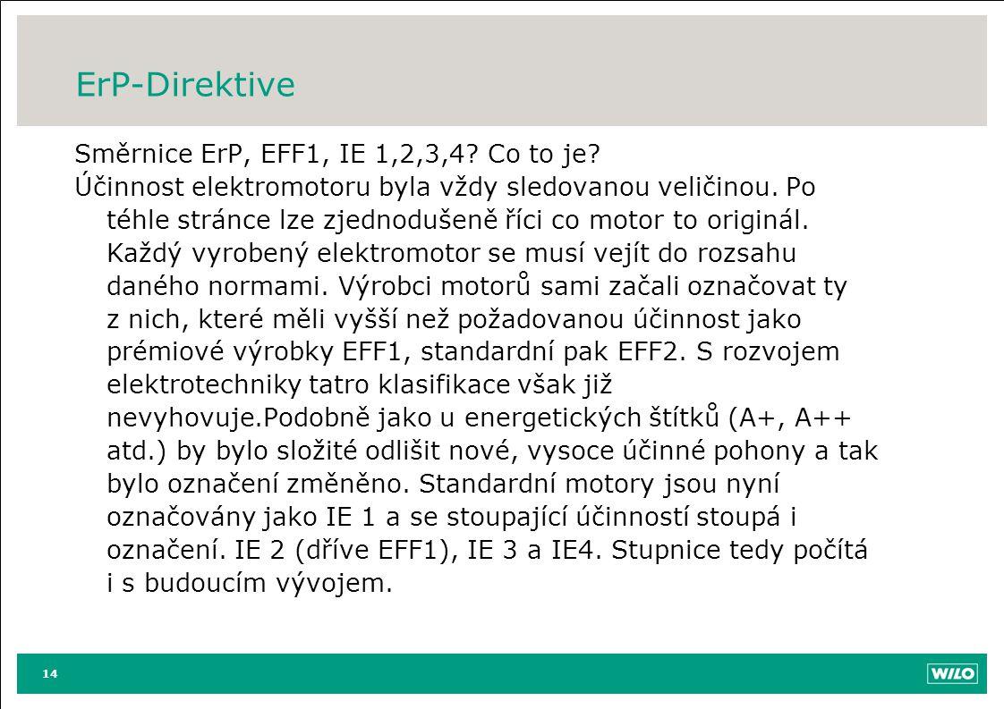 ErP-Direktive Směrnice ErP, EFF1, IE 1,2,3,4? Co to je? Účinnost elektromotoru byla vždy sledovanou veličinou. Po téhle stránce lze zjednodušeně říci