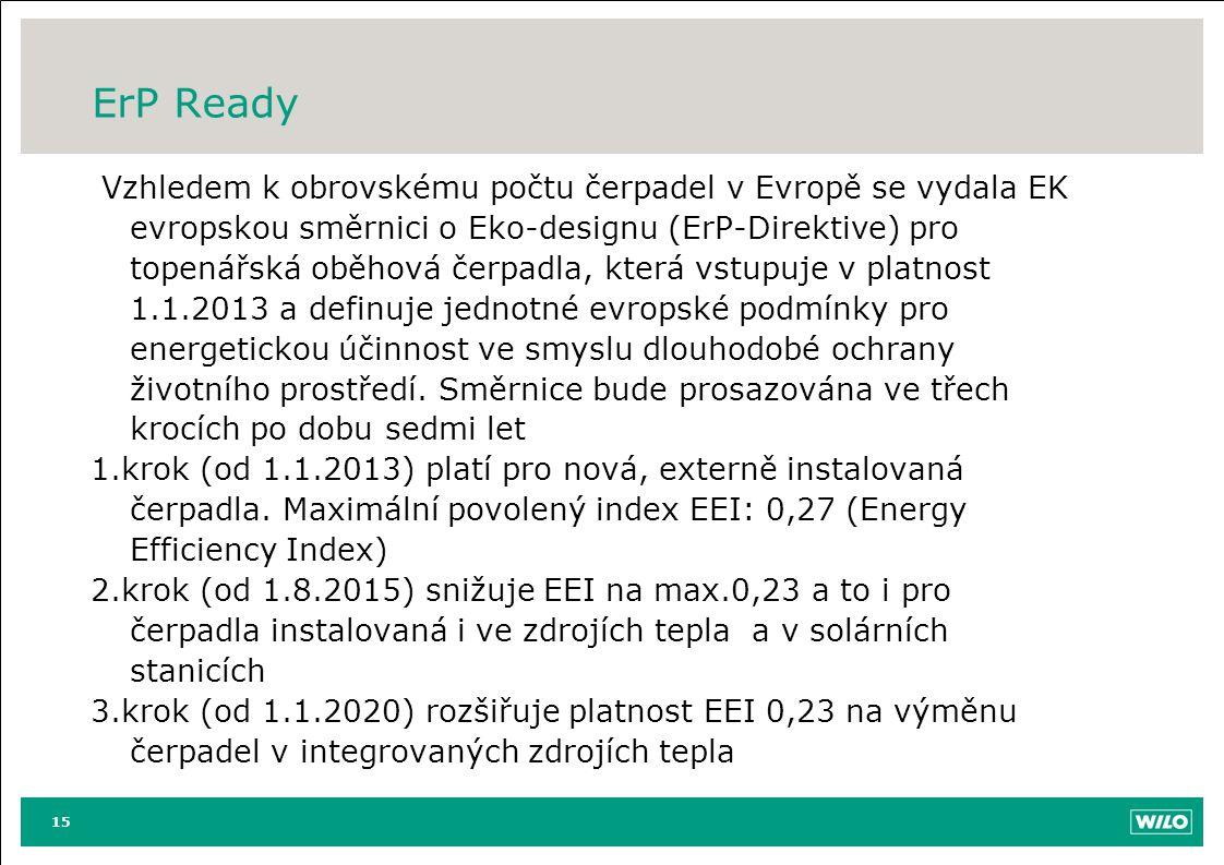 ErP Ready Vzhledem k obrovskému počtu čerpadel v Evropě se vydala EK evropskou směrnici o Eko-designu (ErP-Direktive) pro topenářská oběhová čerpadla,