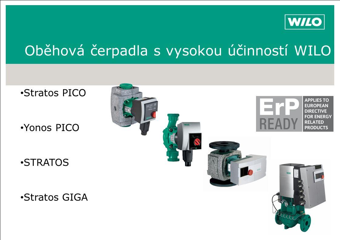 Oběhová čerpadla s vysokou účinností WILO Stratos PICO Yonos PICO STRATOS Stratos GIGA