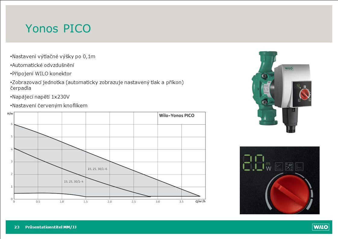 Yonos PICO Präsentationstitel MM/JJ23 Nastavení výtlačné výšky po 0,1m Automatické odvzdušnění Připojení WILO konektor Zobrazovací jednotka (automatic