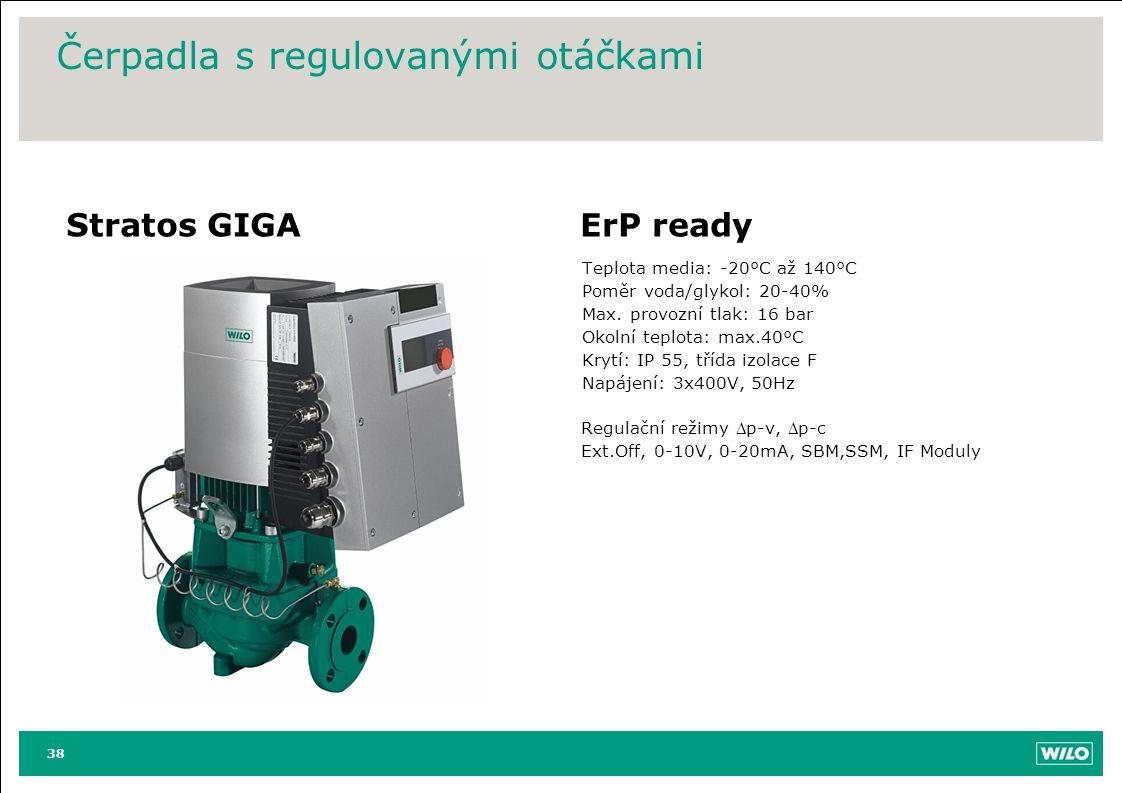 Čerpadla s regulovanými otáčkami Stratos GIGAErP ready Teplota media: -20°C až 140°C Poměr voda/glykol: 20-40% Max. provozní tlak: 16 bar Okolní teplo