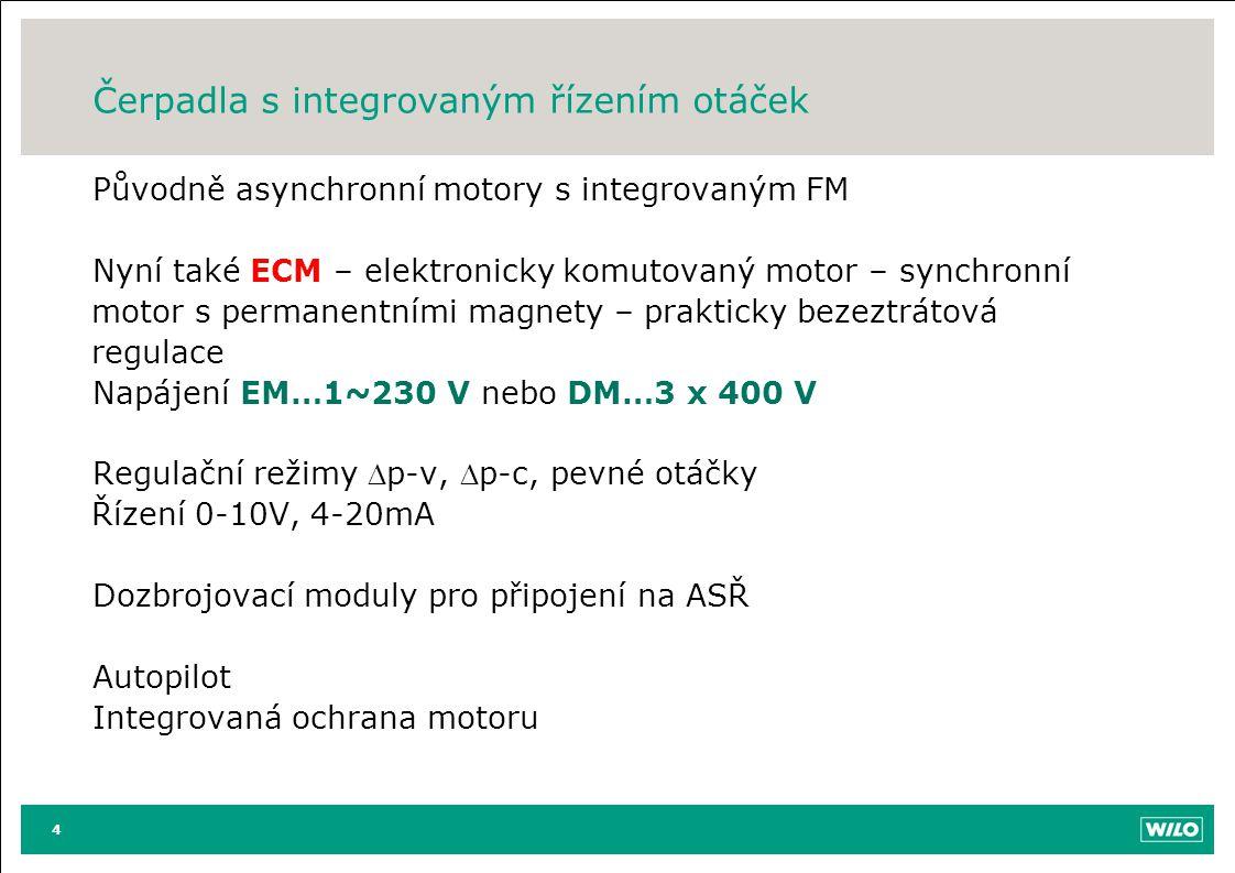 Čerpadla s integrovaným řízením otáček Původně asynchronní motory s integrovaným FM Nyní také ECM – elektronicky komutovaný motor – synchronní motor s