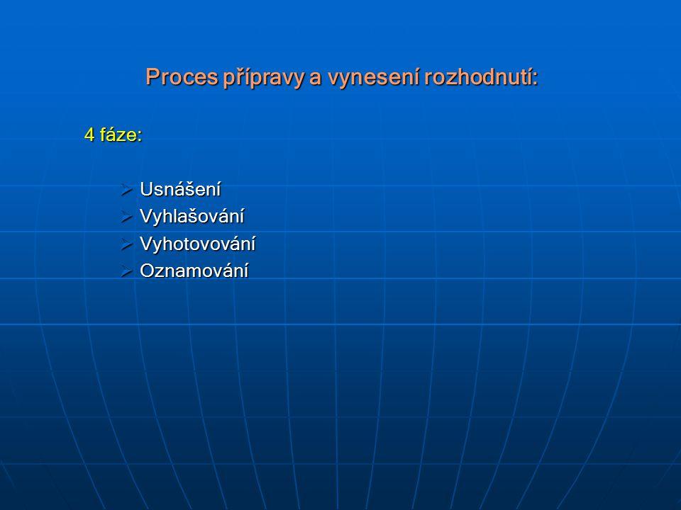 Proces přípravy a vynesení rozhodnutí: 4 fáze:  Usnášení  Vyhlašování  Vyhotovování  Oznamování