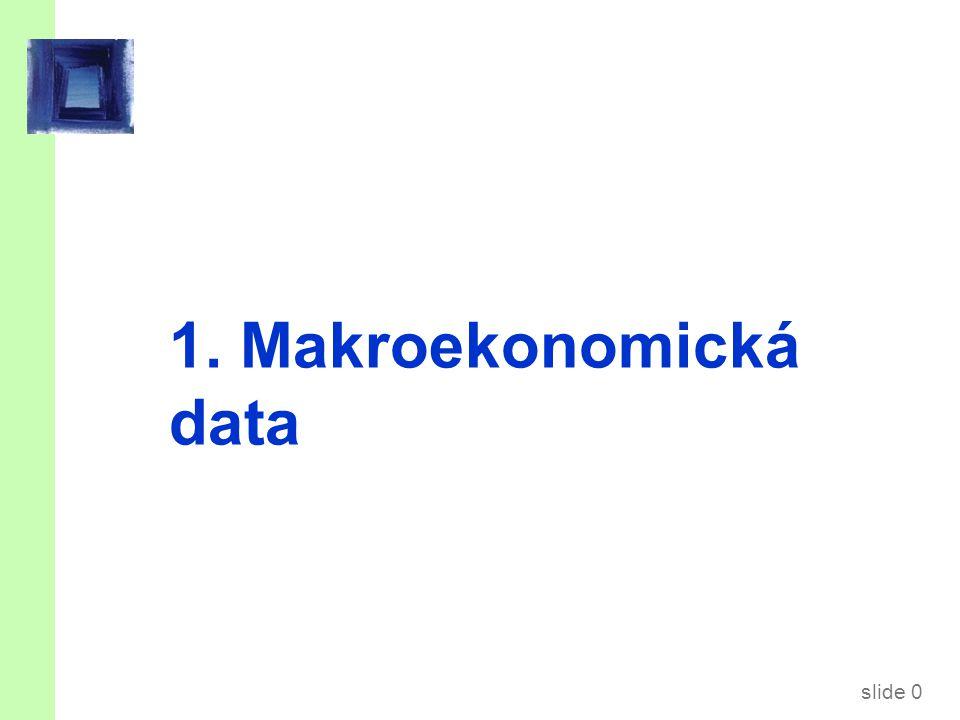 slide 1 Předmětem přednášky jsou… … tří nejvýznamnější makroekonomické indikátory:  Hrubý domácí produkt (HDP)  Index spotřebitelských cen (CPI)  Míra nezaměstnanosti (u)