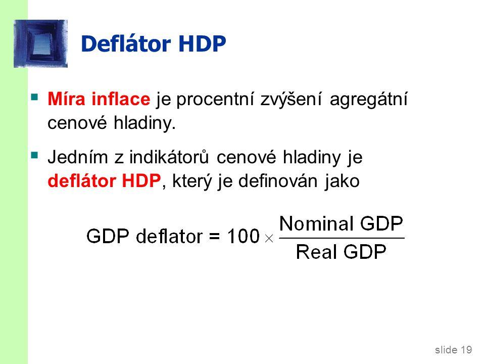 slide 19 Deflátor HDP  Míra inflace je procentní zvýšení agregátní cenové hladiny.