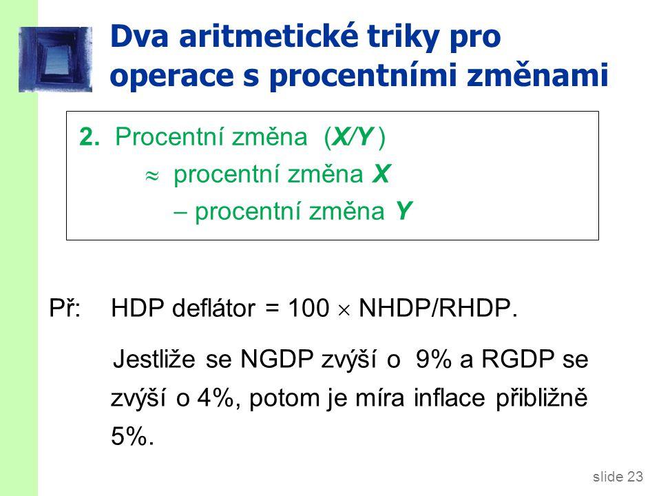 slide 23 Dva aritmetické triky pro operace s procentními změnami Př:HDP deflátor = 100  NHDP/RHDP.