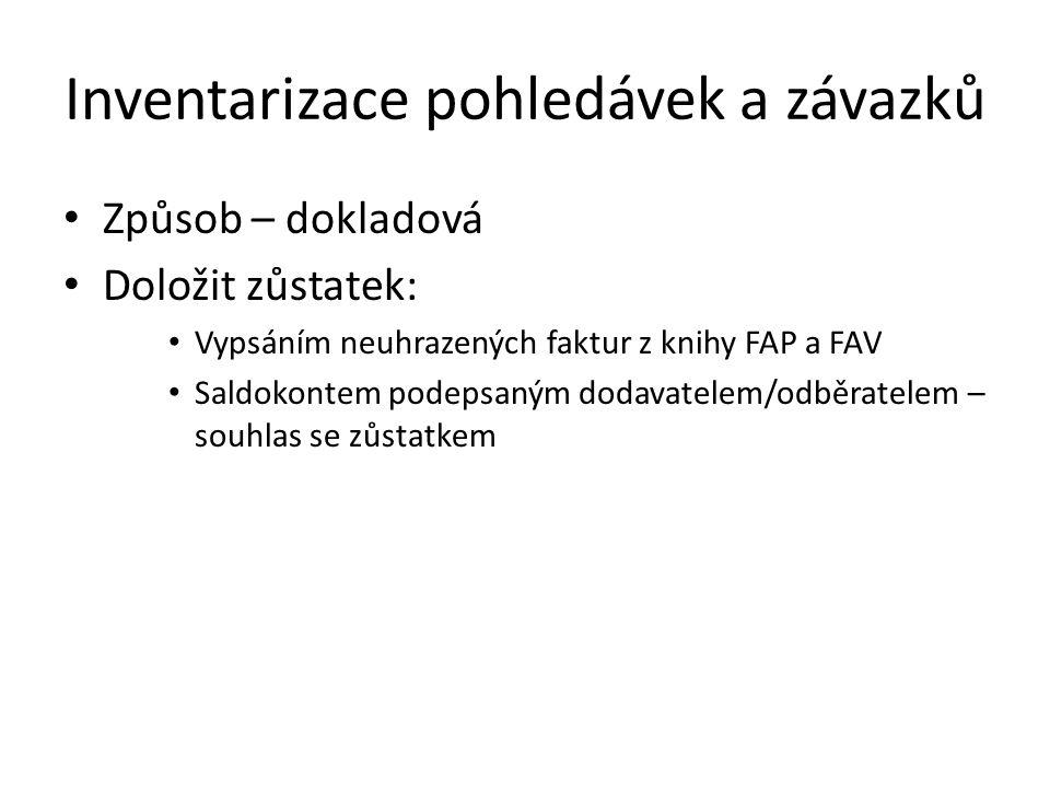 Inventarizace pohledávek a závazků Způsob – dokladová Doložit zůstatek: Vypsáním neuhrazených faktur z knihy FAP a FAV Saldokontem podepsaným dodavatelem/odběratelem – souhlas se zůstatkem