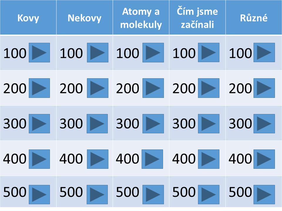 KovyNekovy Atomy a molekuly Čím jsme začínali Různé 100 200 300 400 500
