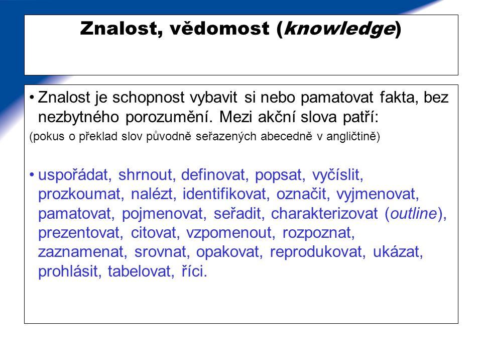 Znalost, vědomost (knowledge) Znalost je schopnost vybavit si nebo pamatovat fakta, bez nezbytného porozumění. Mezi akční slova patří: (pokus o překla