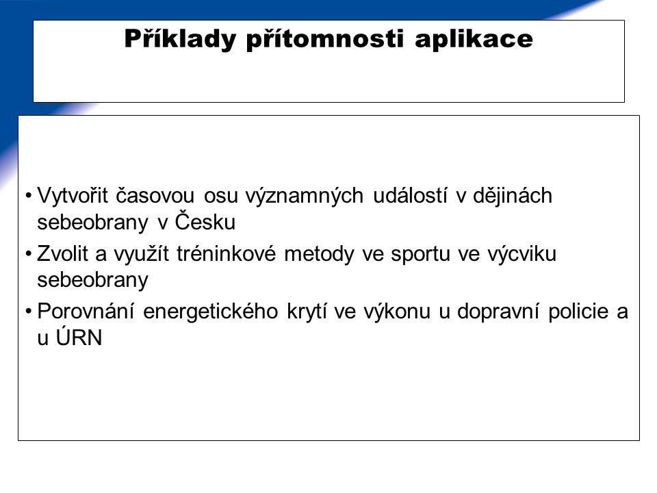 Příklady přítomnosti aplikace Vytvořit časovou osu významných událostí v dějinách sebeobrany v Česku Zvolit a využít tréninkové metody ve sportu ve vý