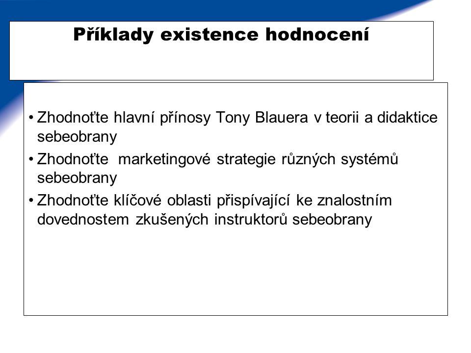 Příklady existence hodnocení Zhodnoťte hlavní přínosy Tony Blauera v teorii a didaktice sebeobrany Zhodnoťte marketingové strategie různých systémů se