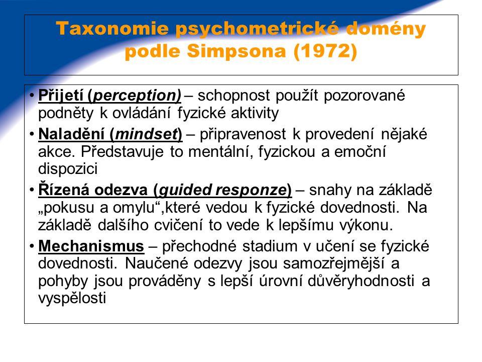 Taxonomie psychometrické domény podle Simpsona (1972) Přijetí (perception) – schopnost použít pozorované podněty k ovládání fyzické aktivity Naladění