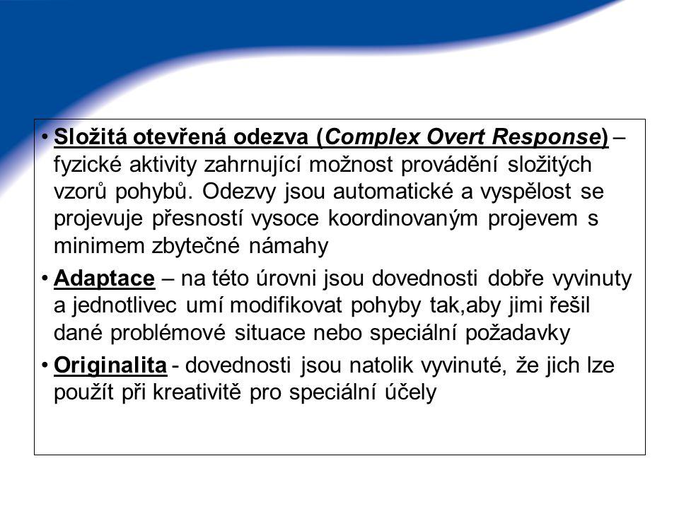 Složitá otevřená odezva (Complex Overt Response) – fyzické aktivity zahrnující možnost provádění složitých vzorů pohybů. Odezvy jsou automatické a vys