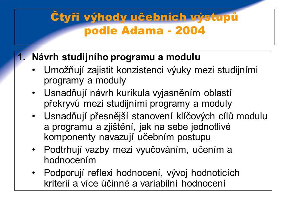 Čtyři výhody učebních výstupů podle Adama - 2004 1.Návrh studijního programu a modulu Umožňují zajistit konzistenci výuky mezi studijními programy a m
