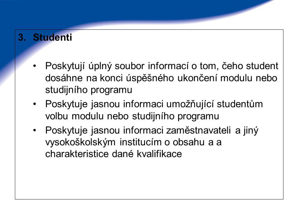 3.Studenti Poskytují úplný soubor informací o tom, čeho student dosáhne na konci úspěšného ukončení modulu nebo studijního programu Poskytuje jasnou i