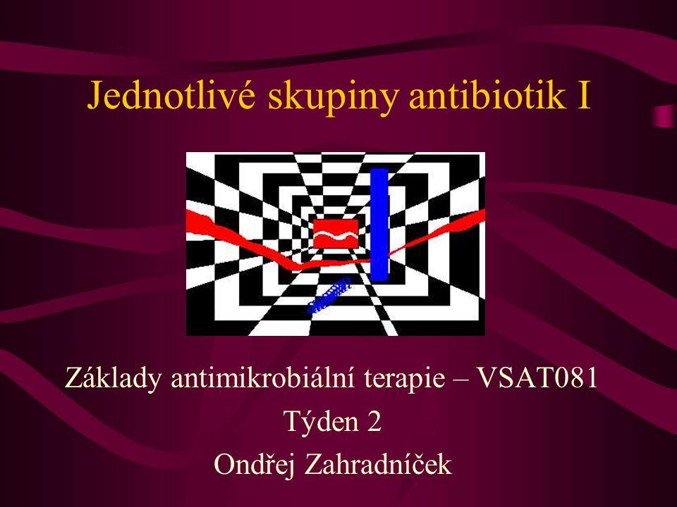 Jednotlivé skupiny antibiotik I Základy antimikrobiální terapie – VSAT081 Týden 2 Ondřej Zahradníček