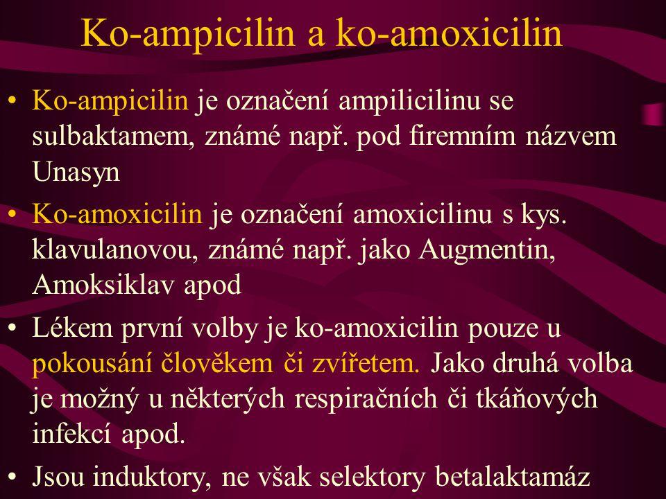Ko-ampicilin a ko-amoxicilin Ko-ampicilin je označení ampilicilinu se sulbaktamem, známé např. pod firemním názvem Unasyn Ko-amoxicilin je označení am
