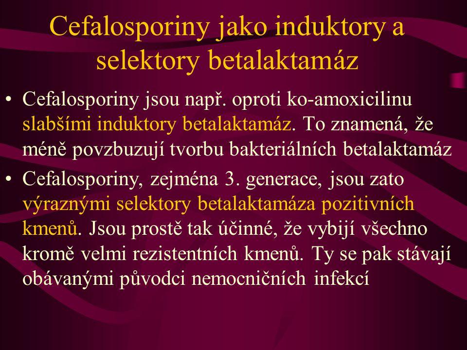 Cefalosporiny jako induktory a selektory betalaktamáz Cefalosporiny jsou např. oproti ko-amoxicilinu slabšími induktory betalaktamáz. To znamená, že m