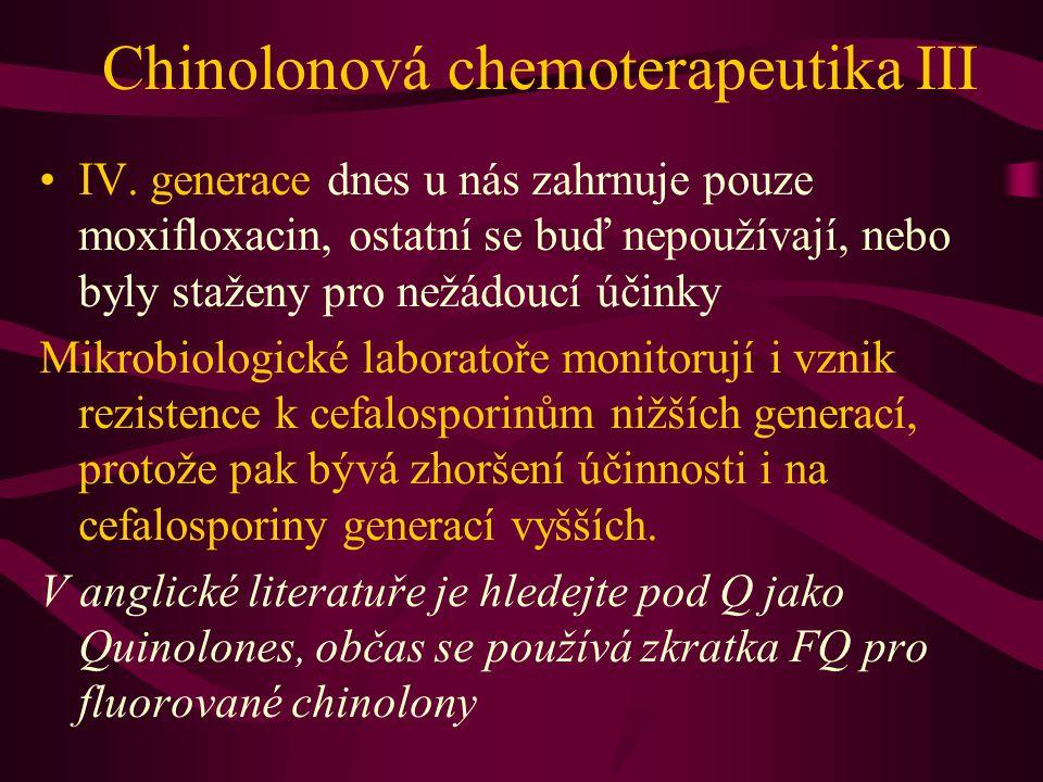 Chinolonová chemoterapeutika III IV. generace dnes u nás zahrnuje pouze moxifloxacin, ostatní se buď nepoužívají, nebo byly staženy pro nežádoucí účin