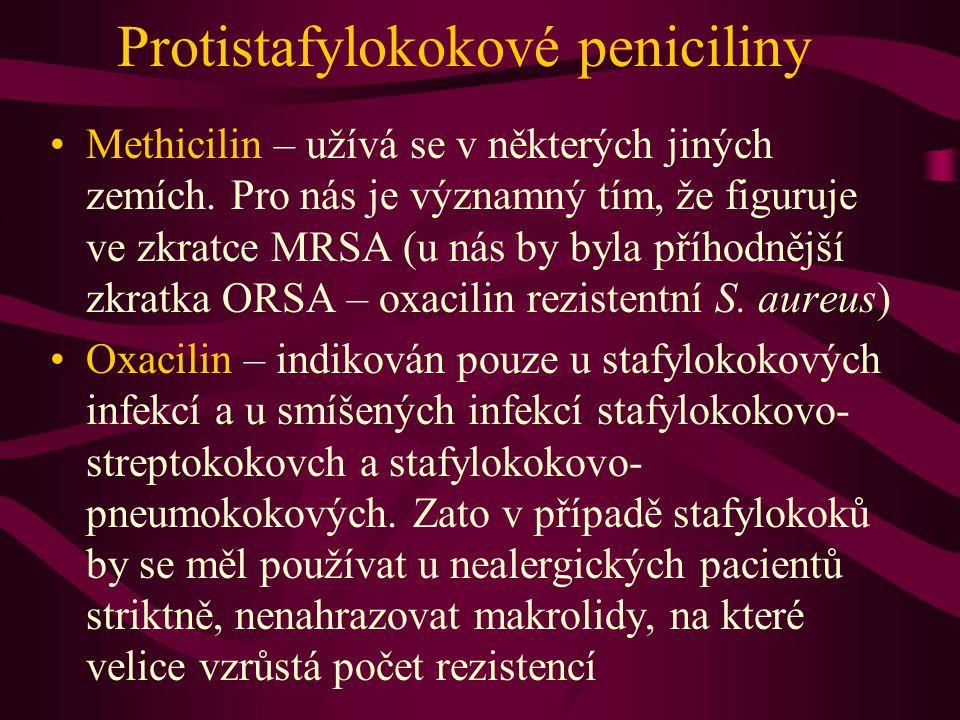 Protistafylokokové peniciliny Methicilin – užívá se v některých jiných zemích. Pro nás je významný tím, že figuruje ve zkratce MRSA (u nás by byla pří