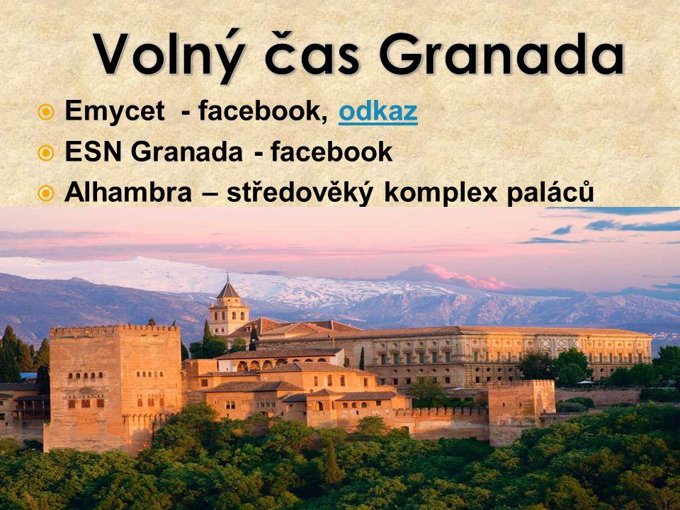  Emycet - facebook, odkazodkaz  ESN Granada - facebook  Alhambra – středověký komplex paláců