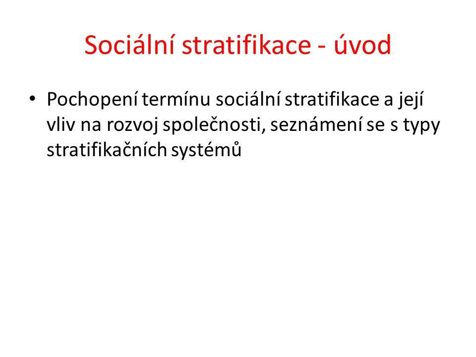 Sociální stratifikace - úvod Pochopení termínu sociální stratifikace a její vliv na rozvoj společnosti, seznámení se s typy stratifikačních systémů