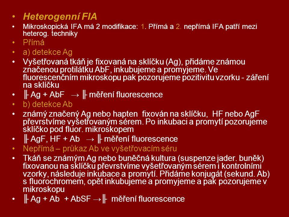 Heterogenní FIA Mikroskopická IFA má 2 modifikace: 1. Přímá a 2. nepřímá IFA patří mezi heterog. techniky Přímá a) detekce Ag Vyšetřovaná tkáň je fixo
