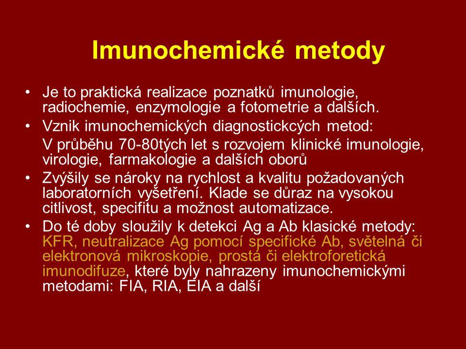 - stanovení Ag či Ab v histologických preparátech, tělních tekutinách, a jiných vzorcích, Imunoeseje, reakce třetí generace.