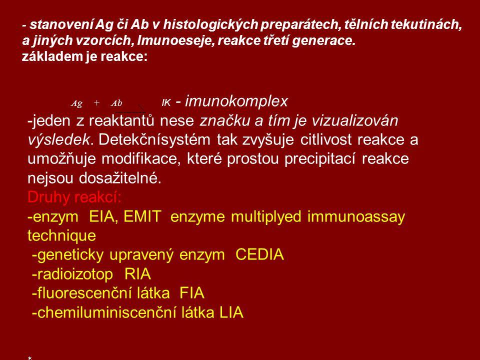  Antigeny Ag– makromolekuly (polymery: proteiny, polypeptidy…)  navozují specifickou imunitní opovědˇ  specificky reagují s protilátkami  hapten – nízkomolekulární látka (léčiva, drogy) navázána na  vysokomolekulární nosič  Protilátky Ab – bílkoviny (glykoproteiny) tělních tekutin  vykazují specifickou vazebnou schopnost vůči antigenu, na jehož  podnět se vytvořily, mohou být cíleně připravené  jen proti jedné chemické skupině  která je společná pro více strukturně chemicky příbuzných látek