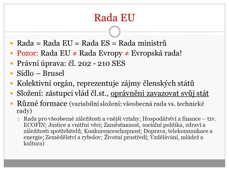 Rada = Rada EU = Rada ES = Rada ministrů Pozor: Rada EU ≠ Rada Evropy ≠ Evropská rada.