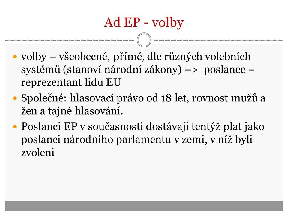 Ad EP - volby volby – všeobecné, přímé, dle různých volebních systémů (stanoví národní zákony) => poslanec = reprezentant lidu EU Společné: hlasovací právo od 18 let, rovnost mužů a žen a tajné hlasování.