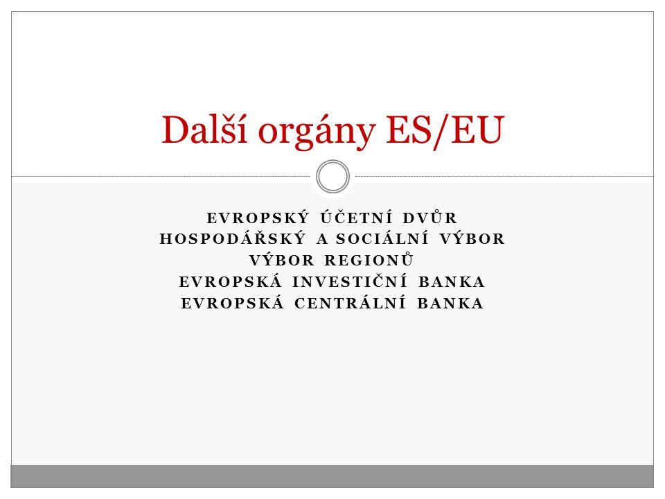 EVROPSKÝ ÚČETNÍ DVŮR HOSPODÁŘSKÝ A SOCIÁLNÍ VÝBOR VÝBOR REGIONŮ EVROPSKÁ INVESTIČNÍ BANKA EVROPSKÁ CENTRÁLNÍ BANKA Další orgány ES/EU