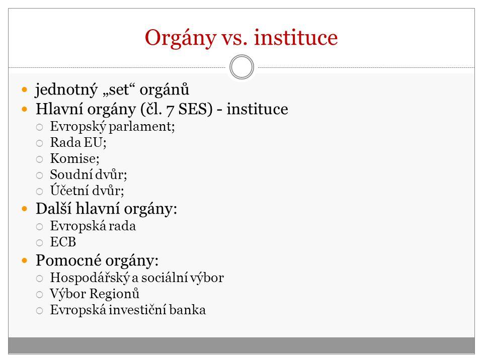 """Orgány vs.instituce jednotný """"set orgánů Hlavní orgány (čl."""