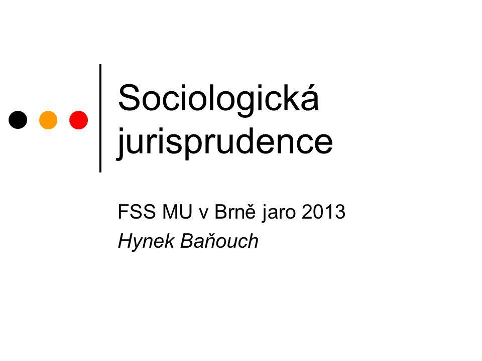 Sociologická jurisprudence FSS MU v Brně jaro 2013 Hynek Baňouch