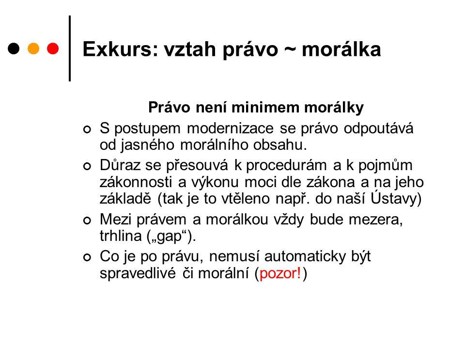Exkurs: vztah právo ~ morálka Právo není minimem morálky S postupem modernizace se právo odpoutává od jasného morálního obsahu.