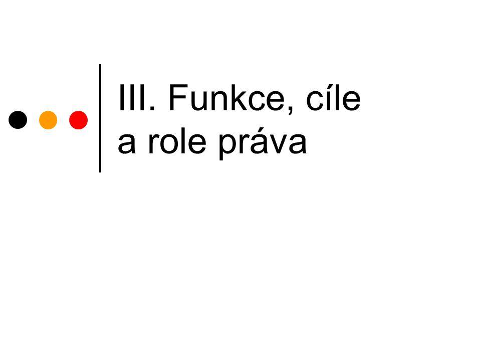 III. Funkce, cíle a role práva