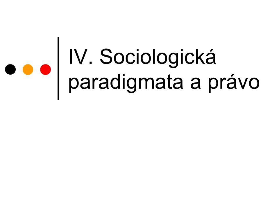 IV. Sociologická paradigmata a právo