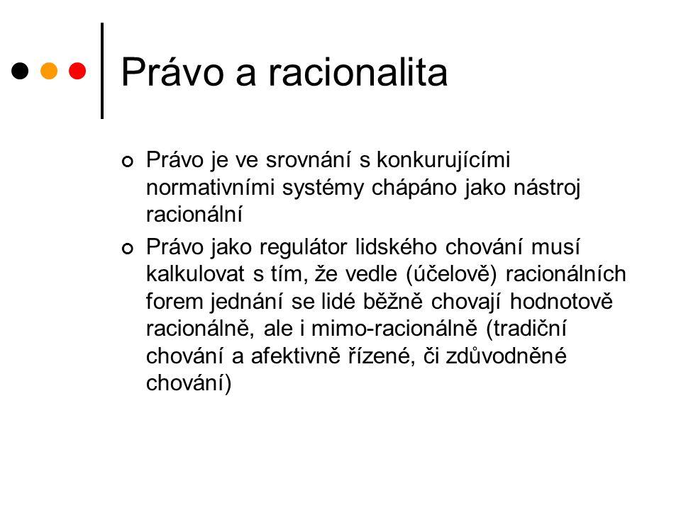 Právo a racionalita Právo je ve srovnání s konkurujícími normativními systémy chápáno jako nástroj racionální Právo jako regulátor lidského chování musí kalkulovat s tím, že vedle (účelově) racionálních forem jednání se lidé běžně chovají hodnotově racionálně, ale i mimo-racionálně (tradiční chování a afektivně řízené, či zdůvodněné chování)