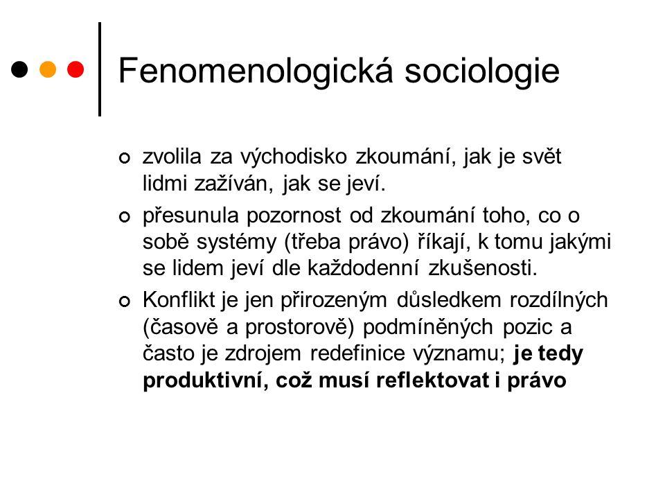 Fenomenologická sociologie zvolila za východisko zkoumání, jak je svět lidmi zažíván, jak se jeví.