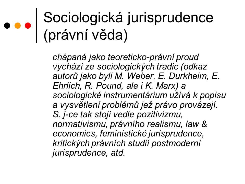 Sociologická jurisprudence (právní věda) chápaná jako teoreticko-právní proud vychází ze sociologických tradic (odkaz autorů jako byli M.