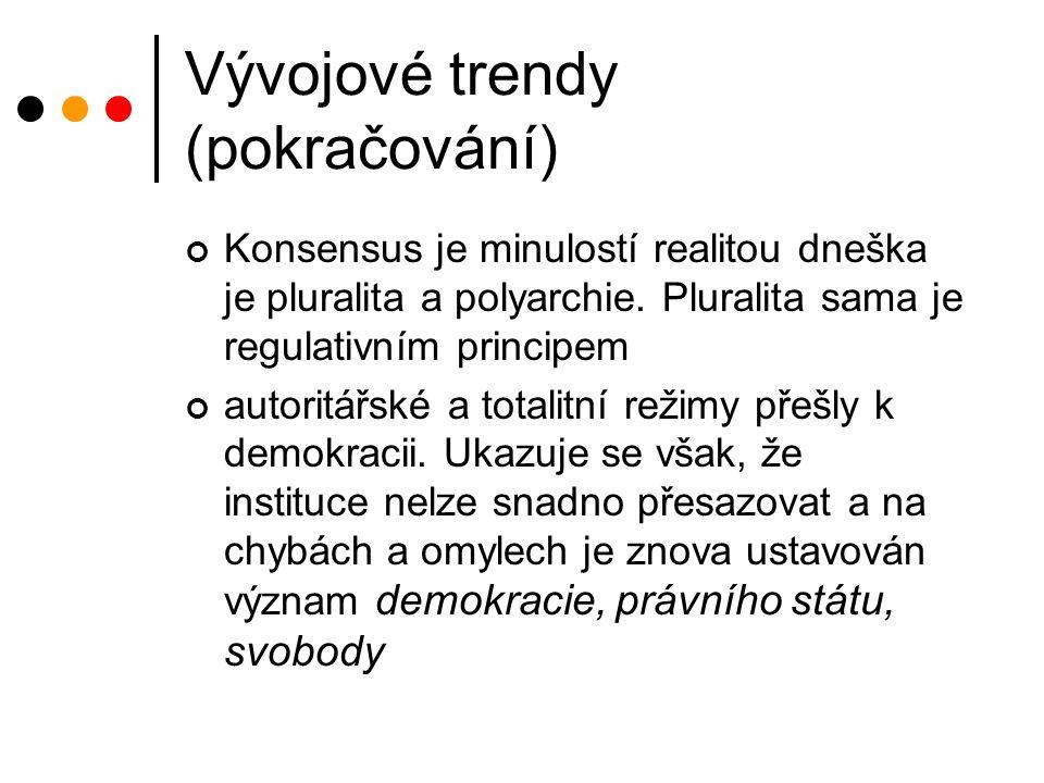 Vývojové trendy (pokračování) Konsensus je minulostí realitou dneška je pluralita a polyarchie.
