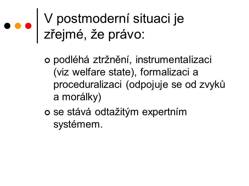 V postmoderní situaci je zřejmé, že právo: podléhá ztržnění, instrumentalizaci (viz welfare state), formalizaci a proceduralizaci (odpojuje se od zvyků a morálky) se stává odtažitým expertním systémem.