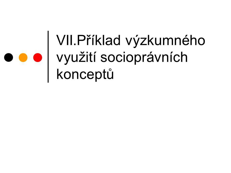 VII.Příklad výzkumného využití socioprávních konceptů